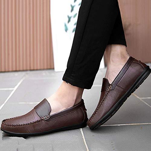 Chaussures Conduite aller Slip À Antidérapante Couleur Plats one De Cousues Pour Hommes Pieds Tout Darkbrown La Main Ensemble Pure Mocassins EXqwTE
