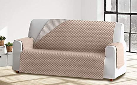 Cabetex Home - Cubre sofá Reversible Bicolor con ajustes - Microfibra Acolchada Antimanchas (Crema/Beige, 3 Plazas)