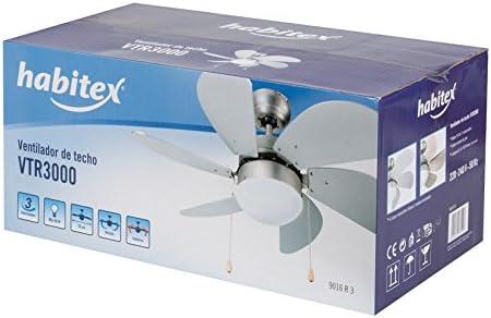 Habitex- Ventilador De Techo Vtr3000 con Mando: Amazon.es: Hogar