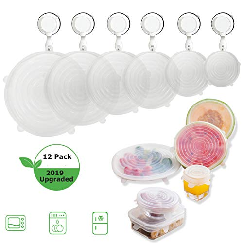 (Silicone Lids for Fresh Food Storage,Reusable Stretch Bowl Cover, 6 Sizes Seal Lids for Bowls,Cups,Fruits Container,Dishwasher Freezer Safe,Clear,1 Dozen (12PCS)