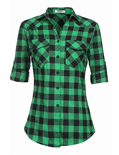 Zeagoo Womens Tartan Plaid Flannel Shirts, Roll up Sleeve Casual Boyfriend Button Down Gingham Checkered Shirt,Green,Medium ()