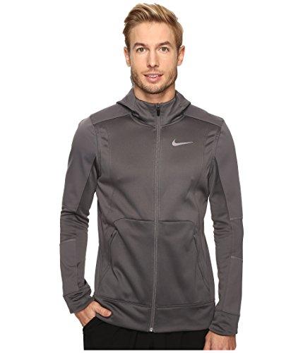 Nike Therma Hyper Elite Basketball Hoodie Dark Grey/Green Glow/Iridescent Mens Sweatshirt