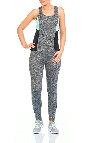 Mujer Dos 2tlg Chándal para unidad Traje Chándal Correr Jogging Pantalones Leggings Pantalones Skinny con Top Camiseta Tirantes Top Tirantes verde menta