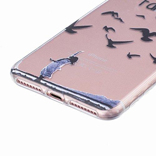 Ougger Apple iPhone 7 Plus Custodia Case, Antigraffio Trasparente Cristallo Durevole Slim Morbido TPU Gomma Silicone Flessibile Protettivo Skin Shell Bumper Rear (Modello 11)
