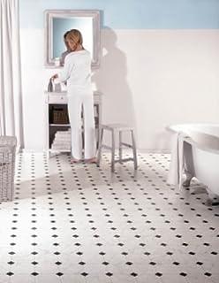 Extreme Black White Diamond Tile Effect Vinyl Flooring Kitchen