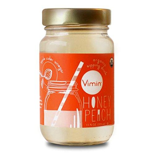 Vimin Organic Apple Cider Vinegar Drink, Honey Peach Flavor, 11 FL OZ ( 6 Count ) ()