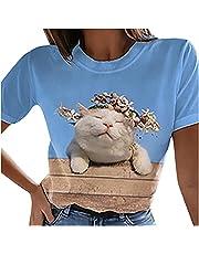 TARIENDY Cute T Shirt for Women 3D Cat Graphic Tees Short Sleeve Tops Round Neck Summer Blouse