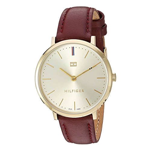 Tommy Hilfiger Women's 'Sophisticated Sport' Quartz Gold-Tone and Leather Watch, Color Purple (Model: 1781692)
