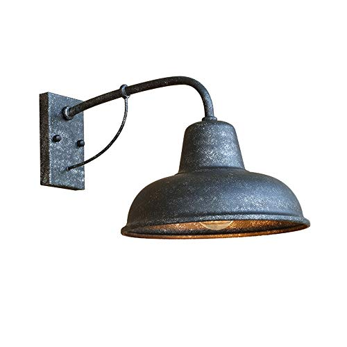 LDDENDP Matte black wall lamp industrial retro metal lighting lampshade indoor outdoor classic lamp metal iron decorative surface Y-type barn shallow outdoor room black with gooseneck lampshade (sha b