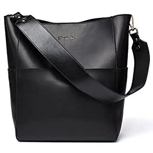 BOSTANTEN Women's Leather Handbags Tote Purses Shoulder Bucket Bags Black