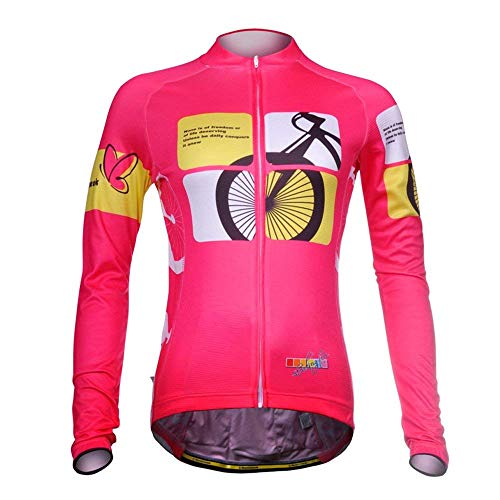 Uriah Women's Cycling Jersey Long Sleeve Thermal Fleece Racing Pink Size S(CN)