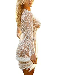 Sexy Women Deep V Neck Long Sleeve Lace Mesh Beach Cover Up See Through Maxi Dress