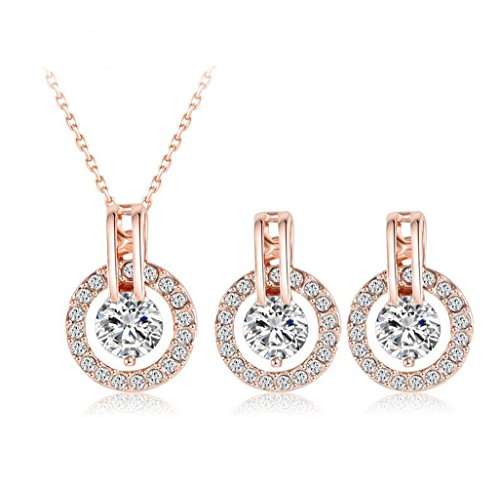 Jesho Wedding Jewelry Sets Rose Gold Color Necklace/Earring Bijouterie Sets for Women
