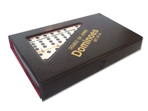 Jumbo Double Six Dominoes - Double 6 Jumbo Size Domino Tiles with Spinner in Vinyl Case, Black