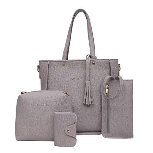 4 Set Handbag Shoulder Bags,Outsta Women's Four Pieces Tote Bag Crossbody Wallet Travel Backpack Messenger Classic Basic Casual Daypack (Gray) by Outsta Bags