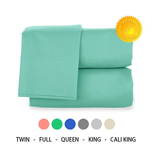 Jersey Money Pouch - Queen Sheet Set by H Bedding - 4 pcs Solid Color Microfiber - Pillow cases, flat sheet, fitted sheet set - deep pocket Queen Bed Sheets Set, Turquoise