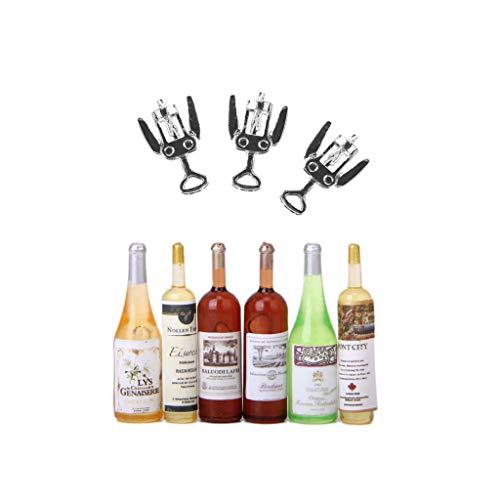 Fityle 9pcs Colored Miniature Beer Wine Bottles 3pcs Metal Wine Bottle Opener Corkscrew Model 1/12 Dollhouse Food Accessory