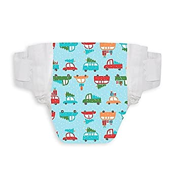 Honest 40-Pack Size 2 Diapers in Snowy Road l Stretch Side Panels and Soft
