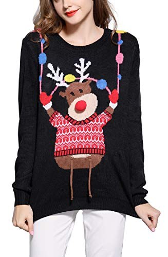 *daisysboutique* Women's Christmas Reindeer Themed Knitted Holiday Sweater Girl Pullover (Large, Reindeer-on-strg)