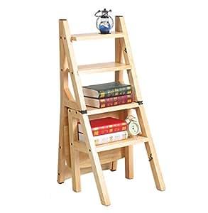Stand de planta Silla plegable de madera maciza multifunción Stepladder / silla de la escalera con 4 pasos 43 * 37 * 90.5CM Plataforma Multi Tier ( Color : B )