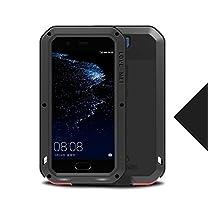 Huawei P10 Waterproof Case, Love Mei Armor Tank Shockproof Waterproof Dust/Dirt/Snow Proof Aluminum Metal Gorilla Glass Heavy Duty Hard Case Cover for Huawei P10 5.1 inch (Black)