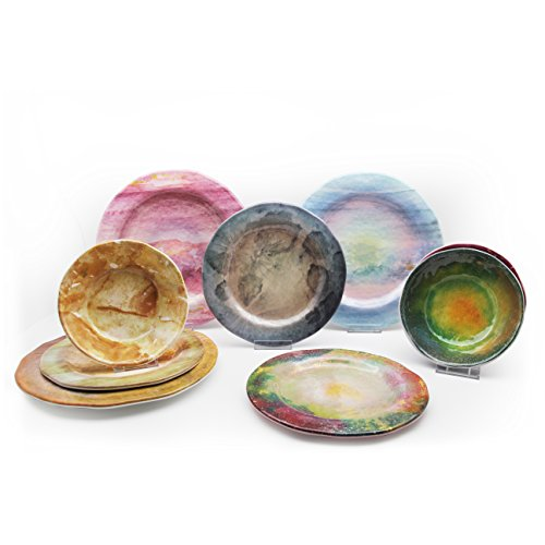 Vitamin M for Living! Dining in Galaxy Serise, Nebula Space Planet Pattern Texture Dinnerware Set, Space, Science, Birthday Party Supplies Favors,Service for 3 (9, Dining in Galaxy)