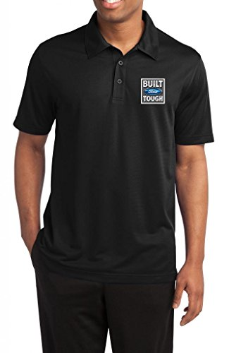 Mens Built Ford Tough Black Textured Polo Shirt 3XL