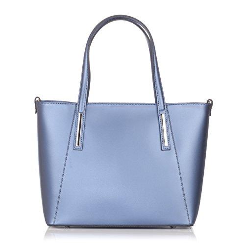 Laura Moretti - Bolsa de cuero con costuras frontales contrat Azul