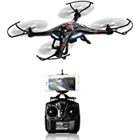 TechTroo Drone with 360 Degree Super Wide Angle HD Camera - 6 Axis Gyro Wi-Fi Phone Control Real-Time Video Supported Black Cx-32w