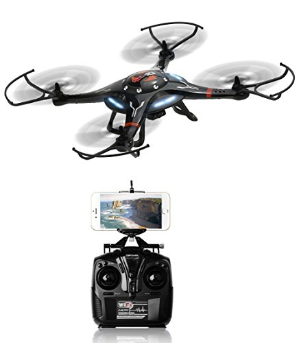 Drone with Super Wide Angle HD Action Camera with 360 Degree Visibility | Wi-Fi Sync Smartphone Controlled Real-Time Video on Propellered Mount | Black  by - TechTroo CX-32W