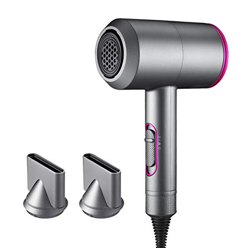 Ionic Hair Dryer, LARMHOI 1800W Professional Salon Negative Ionic Hair Blow Dryer with 3 Heat Settings, 2 Speed One Cool Settings,2 Concentrator Nozzles, Fast Drying Blow Dryer for Home, Salon Use