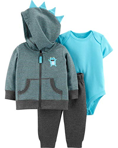 Carter's Baby Boys' 3 Piece Space Print Cardigan Little Jacket Set 9 Months, Gray