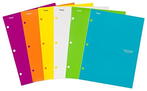 Five Star Pocket Folders, 4-Pocket, 12-1/2'' x 9-1/2'', Assorted Colors, 12 Pack by Five Star