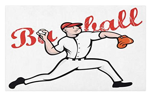 Baseball Illustrations (Lunarable Boy's Room Doormat, Cartoon Illustration of Baseball Player Pitching Throwing Vintage Letters, Decorative Polyester Floor Mat with Non-Skid Backing, 30 W X 18 L inches, Red Black Orange)