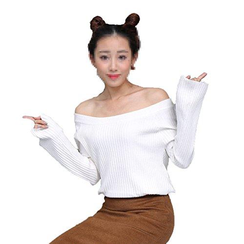 XGMSD Mujer Slim Sweaters Invierno De Otoño Caliente Bottoming Shirt White