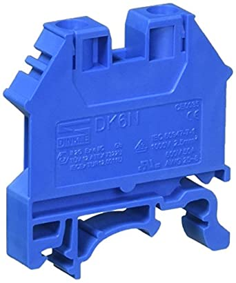 Dinkle DK6N-BL DIN Rail Terminal Block Screw Type UL 600V 50A 8-20AWG, Blue  (Pack of 100)
