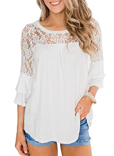 MIHOLL Womens Summer Casual Lace Tops Flowy Loose Shirts Blouse Tops(White, Medium)