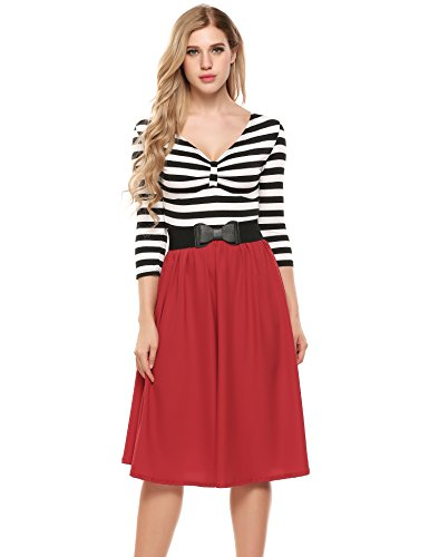 (ACEVOG Women's Retro V-Neck 3/4 Sleeve Vintage Casual Striped Pleated Swing Dress with Belt (XX-Large,)