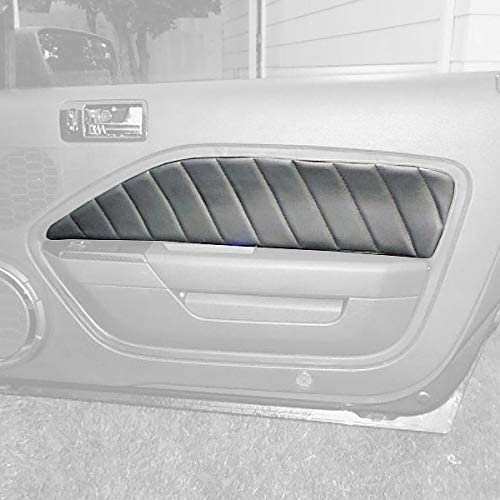 Black Leather-Red Thread RedlineGoods Door Insert Covers Compatible with Ford Mustang 2005-09