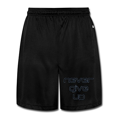 Men's Never Give Up Short Athletics Training Running Sweatpants Black XXL