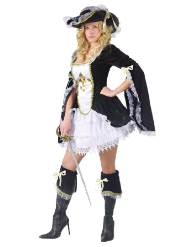 Musketeer Costume Female (FunWorld Midnight Musketeer, Black, 2-8 Small Costume)