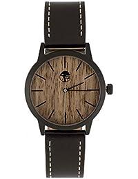 Men's Wood Watch Walnut Waterproof Black Steel Case Quartz Movement Genuine Leather Strap