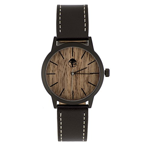 Medium Leather Watch Strap - Viable Harvest Men's Wood Watch Walnut Waterproof Black Steel Case Quartz Movement Genuine Leather Strap