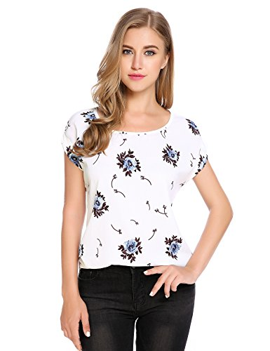 Zeagoo Women's Summer Chiffon Print Short Sleeve T Shirt Blouses Tops 41ci7I6JvXL