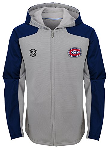 Outerstuff NHL Montreal Canadiens Youth Boys Delta Full Zip Jacket, Medium(10-12), Magenta Pique Heather (Montreal Nhl Hockey)