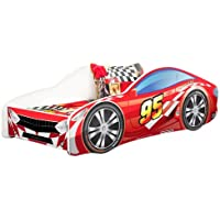 Kids Twin Size Platform Bed Frame, Race Car Bed Design, Red