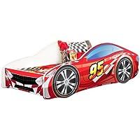 Kids Twin Size Platform Bed Frame, Race Car Bed Design, Red