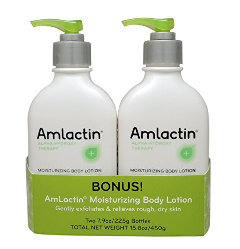 AmLactin Alpha-Hydroxy Therapy Moisturizing Body Lotion for Dry Skin, Fragrance-Free, 15.8oz Twin Pack (7.9oz per bottle)