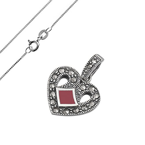 925 Sterling Silver Heart Shaped Pendant diamond-shape simulated carnelian and round marcasite (Marcasite Heart Shape)