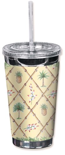 Mugzie brand 16-Ounce To Go Tumbler with Insulated Wetsuit Cover - Bahama Pineapple